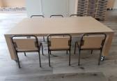 2KICK Tafel voor 6 kids met 6x Kinderstoel Industrie