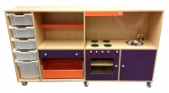 2KICK Daffy Keuken Poppenkast Met Bakken 206 cm Berken Paars Oranje