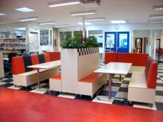Wereldwijs Treinbank op Wielen met Streeppatroon